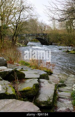 The River Brathay at Skelwith Bridge near Ambleside, Lake District, Cumbria, England - Stock Image