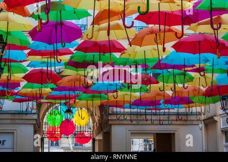 'Umbrella Sky' art installation at Le Village Royal, Rue Royale, Paris, France - Stock Image