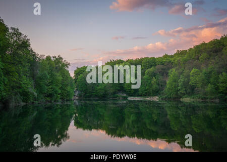 Green forest, a lake and a sunset sky with pink clouds - Stock Image