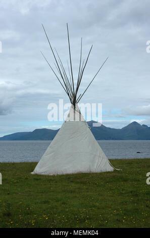 Tipi on the Isle of Muck, Scotland - Stock Image