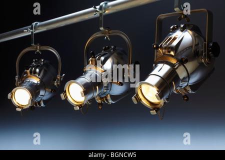 Three overhead spotlights - Stock Image