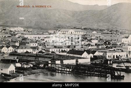 View of the city of Mindello (Mindelo), St Vincent (Sao Vicente) Island, Cape Verde Islands, Atlantic Ocean.     Date: circa 1904 - Stock Image