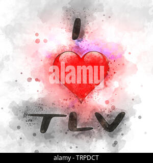 Digitally enhanced image of I love TLV (Tel Aviv, Israel) with a heart shaped graphic and colourful background - Stock Image