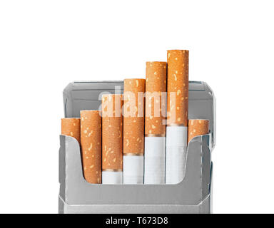 Opened pack of cigarettes closeup isolated on white with clipping path and copy space - Stock Image