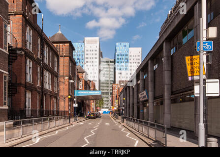 London, England, UK - June 20, 2010: Modern and old buildings of the Royal London Hospital stand side-by-side in the Whitechapel neighbourhood of Lond - Stock Image