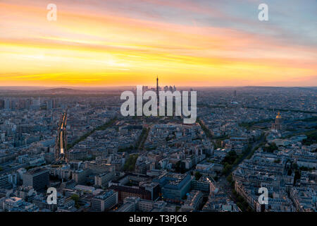 Aerial view of Paris and Eiffel tower at sunset in Paris, France. - Stock Image