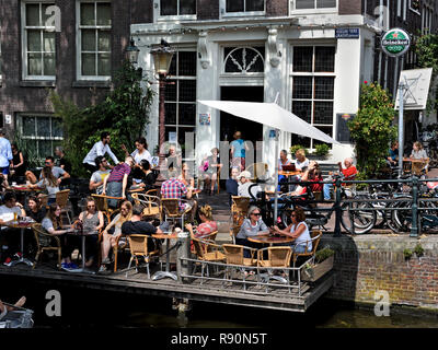 Café 't Smalle drinken Egelantiersgracht Jordaan , Amsterdam, The Netherlands, Dutch, - Stock Image