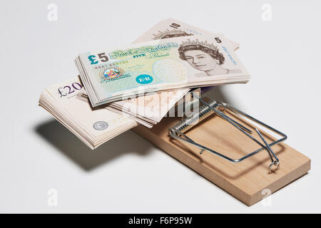 Money in Mouse Trap - Stock Image
