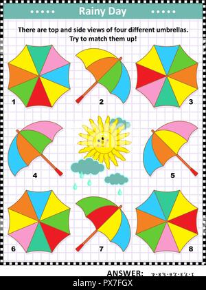 IQ and spatial skills training visual puzzle with colorful umbrellas: There are top and side views of four different umbrellas. Try to match them up! - Stock Image