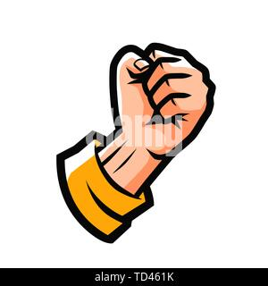 Clenched fist. Fight emblem or label. Cartoon vector illustration - Stock Image