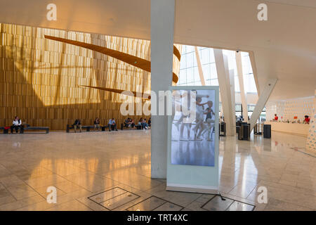 Oslo Opera House, view inside the foyer of the Oslo Opera House, Norway. - Stock Image