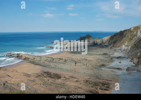 Blegberry Beach looking towards Gull Rock and Damehole Point - Stock Image