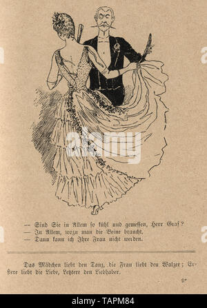Victorian Cartoon of Mature man dacing with a young woman, 1880s, German 19th Century - Stock Image
