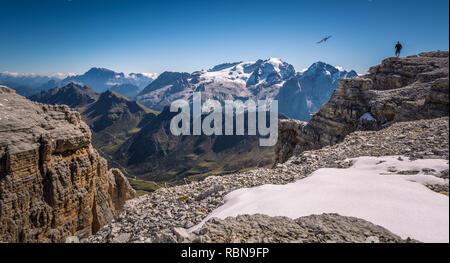 Marmolada massif, Dolomiti, Itay. Beautiful view over the Marmolada glacier and Pordoi Pass from gruppo Sella - Stock Image
