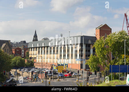 Crown Street multi storey car park and NCP ground level car par near the junction of Manor Street  and Bow Street - Stock Image