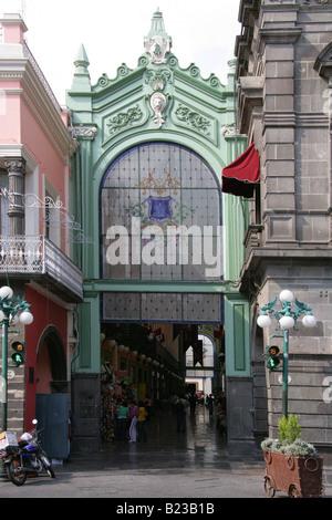 Entrance to a Market Arcade off Zocola Square, Puebla, Mexico - Stock Image