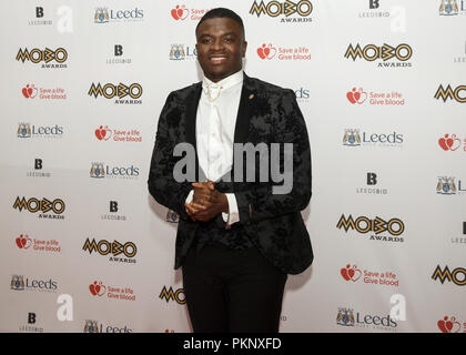 Michael Dapaah, a.k.a. Big Shaq, on the red carpet at the 2017 MOBO Awards. Dapaah rose to fame when the video of his performance of Man's Not Hot (on Fire in the Booth) went viral a few months earlier. - Stock Image