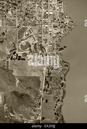 historical aerial photograph - Stock Image