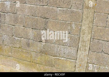 Rather tired concrete block wallof a farmyard building - Stock Image