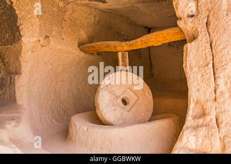 geography / travel, Turkey, Middle East, Cappadocia, olive press in dugout at the Zelve Valley, Additional-Rights - Stock Image
