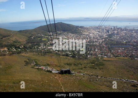 Table Mountain Cable Car and Cape Town, Western Cape, South Africa - Stock Image