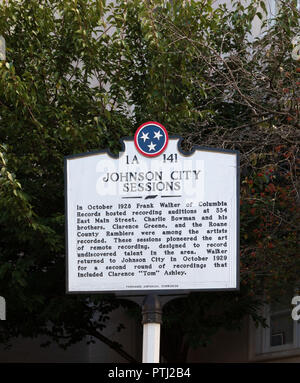 JOHNSON CITY, TN, USA-9/30/18: An Historic Commission marker relating a series of early recording of traditional Appalachian and country music. - Stock Image