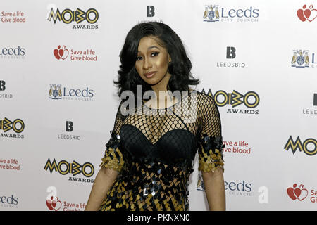 Cardi B on the red carpet at the MOBO Awards. Cardi B is an American rapper, singer and celebrity born Belcalis Marlenis Almanzar in 1992. 2017 MOBO Awards, Cardi B 2017. - Stock Image