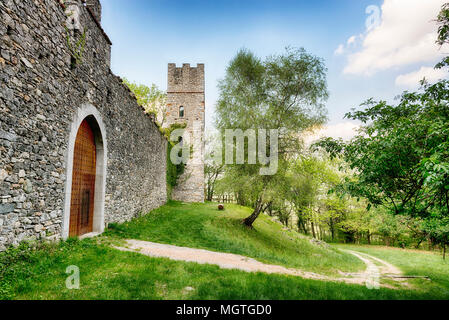 ancient fortress of Orino in the woods of the regional park Campo dei Fiori Varese - Stock Image