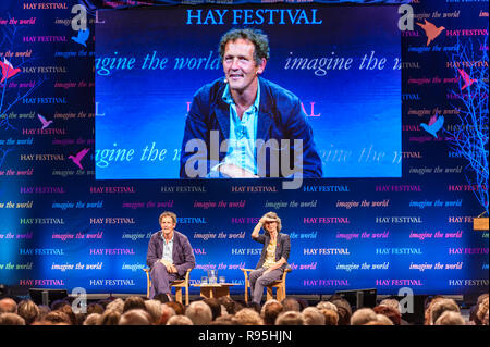 The Hay Festival, Hay-on-Wye, UK. TV presenter and gardener Monty Don interviewed by Helena Attlee, best-selling author of 'The Land Where Lemons Grow - Stock Image