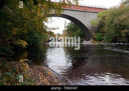 Echo Bridge spanning the Charles River between Needham to Newton Upper Falls, Massachusetts, and Ellis Street in Newton. - Stock Image