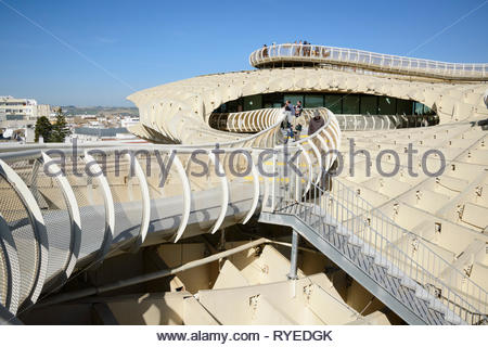 View of the top of the  Metropol Parasol Seville with the walkways - Stock Image