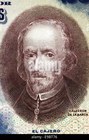 Pedro Calderon de la Barca (1600-1681) on 25 Pesetas 1928 banknote from Spain. Dramatist, poet and writer. - Stock Image