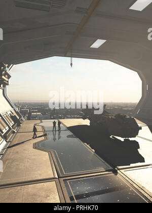 Spaceship Hangar overlooking a Future City - Stock Image