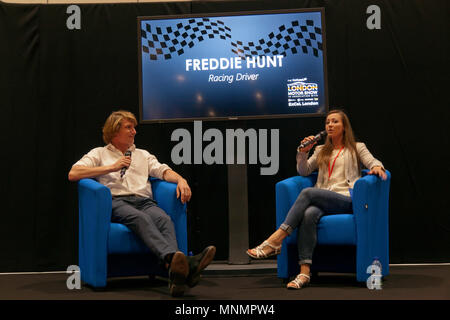 Racing Driver, Freddie Hunt in a Q&A session with Rebecca Jackson at the Lecture Theatre,  during the  London Motor Show 2018. - Stock Image