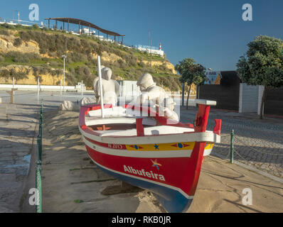 Albufeira Fishing Boat Monument Statue At Praia dos Pescadores, Fishermans Beach Portugal The Algarve - Stock Image