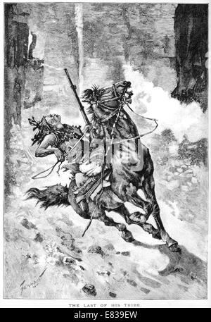 The last of his tribe North American Indian on horseback circa 1885 - Stock Image