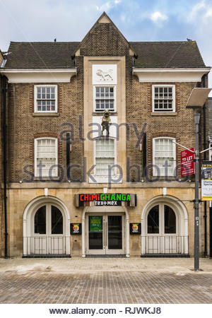 The former central Peterborough branch of the Chimichanga restaurant chain which closed in 2018 remains unoccupied with a To Let sign in January 2019 - Stock Image