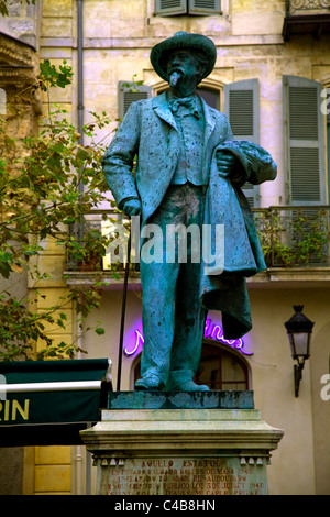 Arles; Bouches du Rhone, France; Monument to Frederic Mistral, French writer and lexicographer - Stock Image