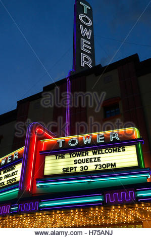 Frontage of Tower Theater, with British band Squeeze set to perform. Bend, Deschutes County, Oregon, USA. - Stock Image