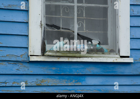 Old window in New Orleans Lower Ninth 9th ward - Stock Image
