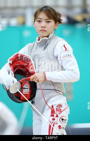 the JISS, Tokyo, Japan. 19th Apr, 2019. Sera Azuma (JPN), APRIL 19, 2019 - Fencing : Japan National Team Training Session at the JISS, Tokyo, Japan. Credit: Naoki Nishimura/AFLO SPORT/Alamy Live News - Stock Image