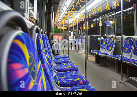 Interior of TransJakarta bus - Stock Image