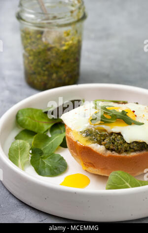 sandwich with pesto, egg in a white plate on a gray concrete background - Stock Image