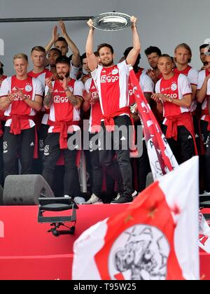 Daley Blind (Ajax) Football Dutch Premier Division 2018/2019 Victory Ceremony Champion May 16, 2019 in Museum Square of Amsterdam, The Netherlands Credit: Sander Chamid/SCS/AFLO/Alamy Live News - Stock Image