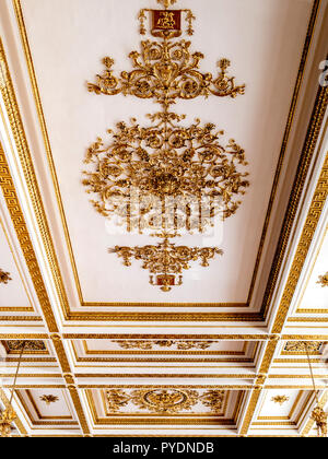 19 September 2018: St Petersburg, Russia - Detail of the coffered ceiling in St George's Hall, or the Great Throne Room, in the Winter Palace, part of - Stock Image