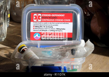 Adrenal Crisis/Coma Acute Adrenal Insufficiency medical kit and medication items  UK - Stock Image