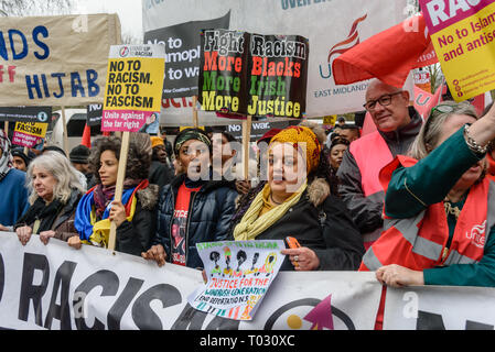 London, UK. 16th March 2019. Banner at the front of the march by thousands through London on UN Anti-Racism day to say 'No to Racism, No to Fascism' and that 'Refugees Are Welcome Here', to show solidarity with the victims of racist attacks including yesterdays Christchurch mosque attack and to oppose Islamophobic hate crimes and racist policies in the UK and elsewhere. The marchers met in Park Lane where there were a number of speeches before marching to a rally in Whitehall. Marches took place in other cities around the world including Glasgow and Cardiff. Peter Marshall/Alamy Live News - Stock Image
