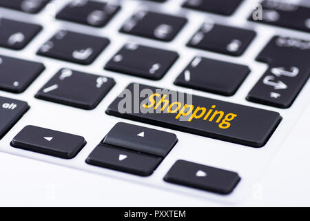Shopping on keyboard button - Stock Image