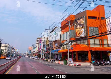 Thanon Phet Kasem, main thoroughfare, Hua Hin, Thailand - Stock Image