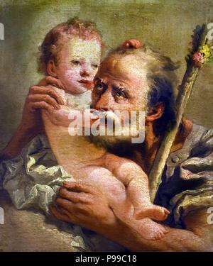 San Giuseppe con il Bambino - Saint Joseph with the Child by Giovanni Domenico Tiepolo (1727-1804) Italy Italian - Stock Image